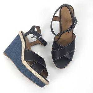 Coach Size 7 Eaton Denim Wedge Shoes